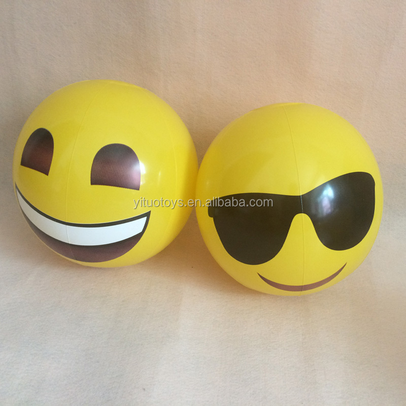 "12""16""&18"" customized size /color Emoji beach <strong>ball</strong> for sale OEM logo inflatable beach <strong>ball</strong> wholesale"