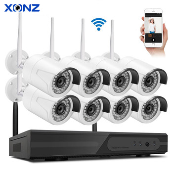 8 cameras channels wireless outdoor cctv system camera 8ch 720p IP NVR Kit for diy security system