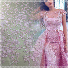 New fashion lace design best wedding dress tulle bridal beaded embroidery lace fabric
