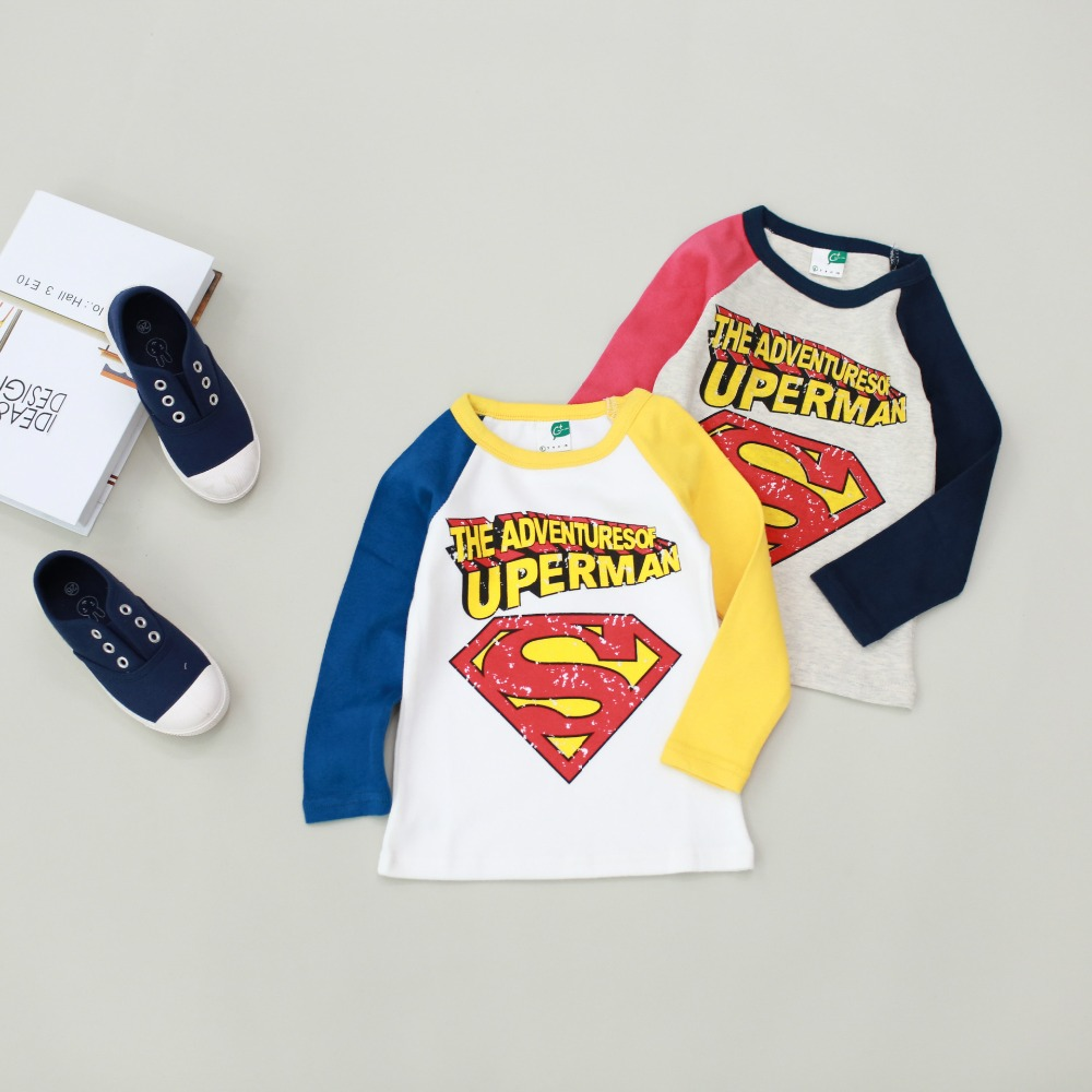 Europe Hot Autumn children t-shirt girls cotton long-sleeved super man t-shirt