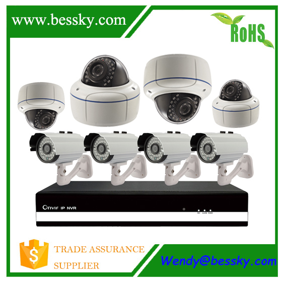High quality IP camera outdoor nvr kit, 8 ch cctv system with outdoor & indoor ip camreas,sexy wifi ip camera with nvr kit