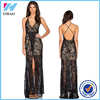 Yihao 2016 Girls New Designs Sexy Lace Black Party Wear Long Dress Ladies Fashion Western Spaghetti Strap Casual Women Dresses