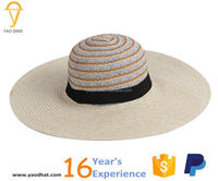 ladies colorful strped wide brim floppy paper straw hats