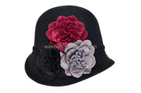 Vintage Style Winter Wool Felt Hats for Women with Flower Decoration