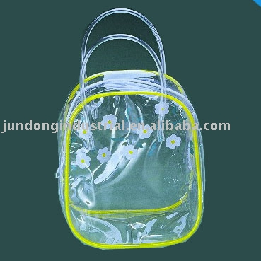 #u7023 clear PVC zipper bag with handle for cosmetic sample