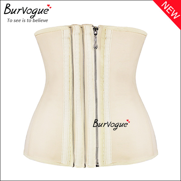 Strong 11 steel bones three zipper latex waist training corset body shaping slimming hot selling waist cincher