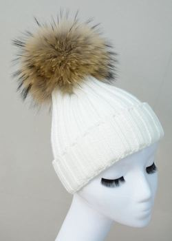 Fashion Strip Unisex Winter Warm Hats With Genuine Raccoon Fur Pom Poms