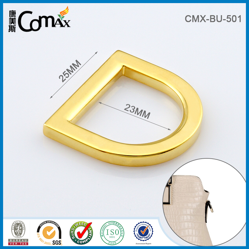 Fashion gold metal flat adjustable loop d rings buckle for belt parts