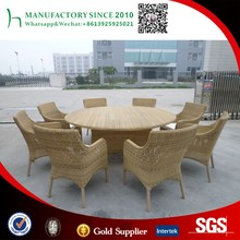 8 person round dining table sets rattan wicker weaved outdoor restaurant furniture