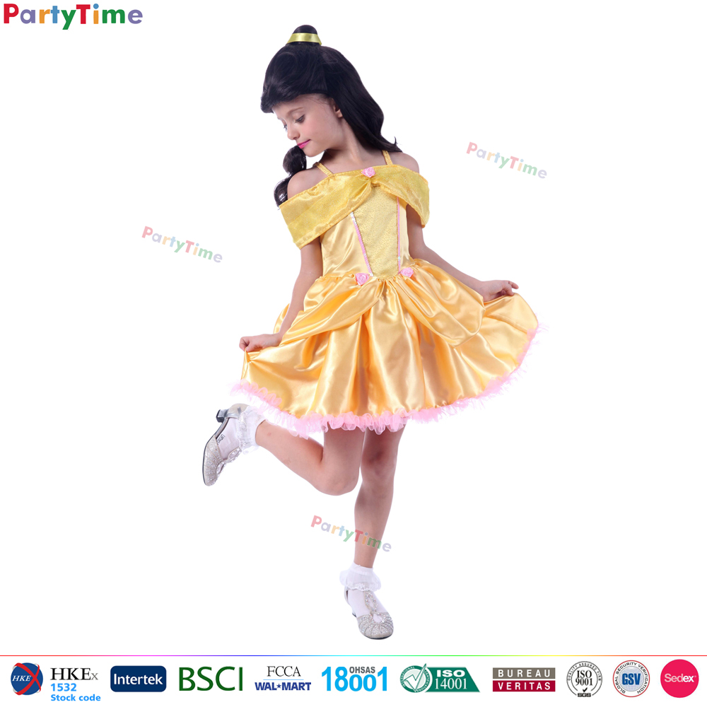 deluxe style yellow princess beauty costumes princess dress baby girl party dress children frocks designs