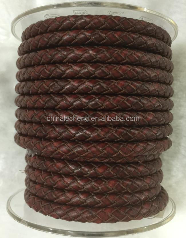 antiqued brown cowhide leather cord braided cord 6mm
