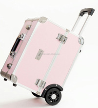 Aluminum Rolling Makeup Organizer Travel Trolley Bag Cosmetic Case