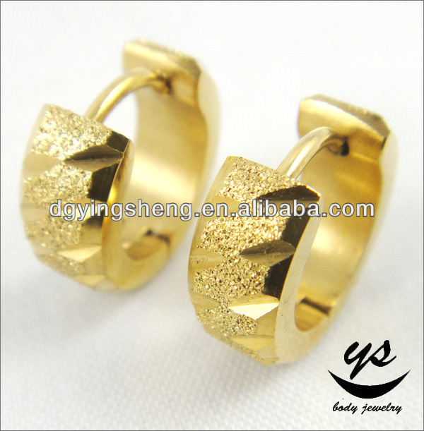Yellow gold mens huggie hoop earrings