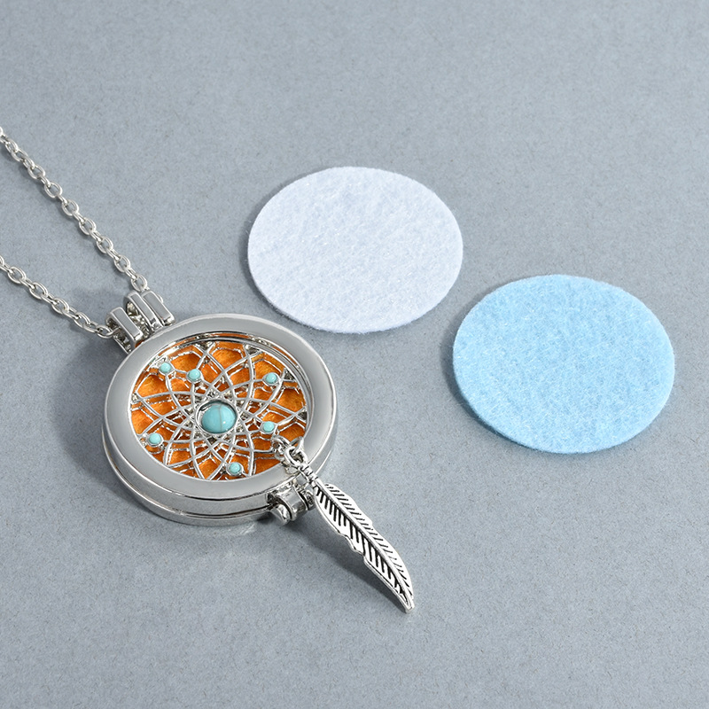 lotus pendant perfume essential oil aromatherapy Aroma Diffuser necklace with Pad