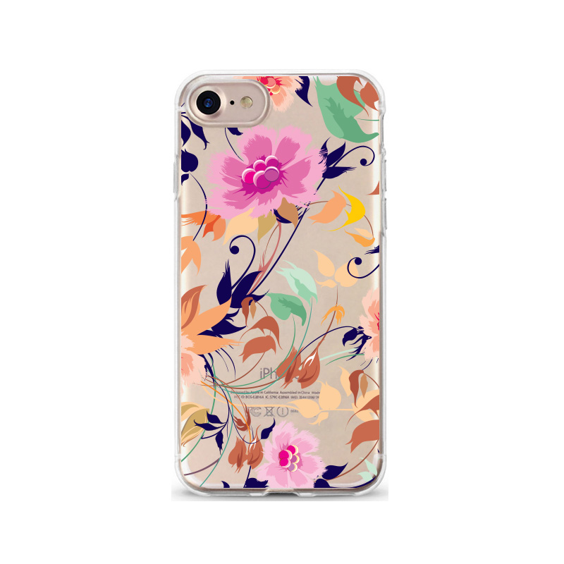 Crystal clear flower patterns soft tpu back case tpu case for iPhone 6/8,mobile phone shell
