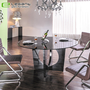 High quality luxury set round top tempered glass dining table