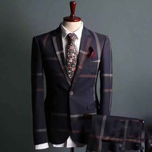 100% Wool Lapel Bespoke Tailored Made Elegant Man Business Suit