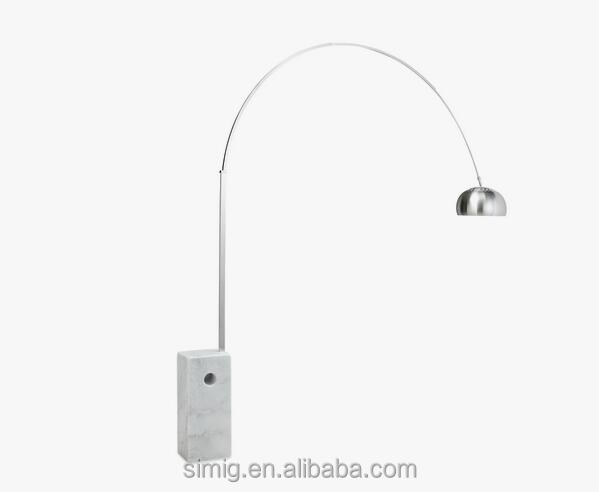 E27*1-40w square base chrome and white color arc floor lamp three size