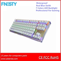 87 keys Waterproof Mechanical 7 colors LED Backlight Gaming Keyboard