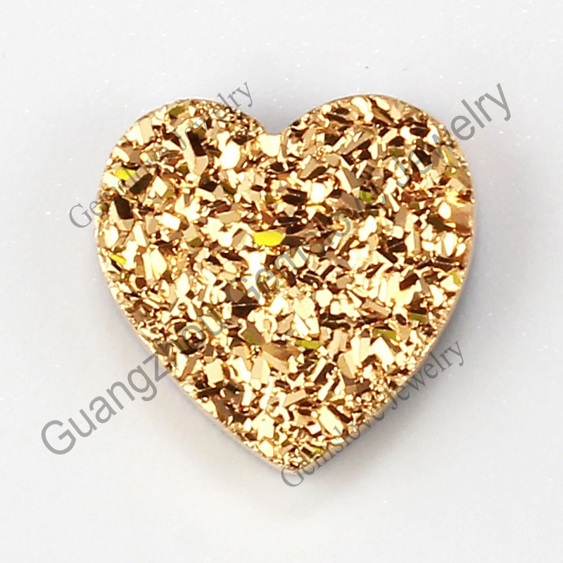Tianium Druzy Cabochon Shinning 24K Gold Color Heart Shape Druzy Stone