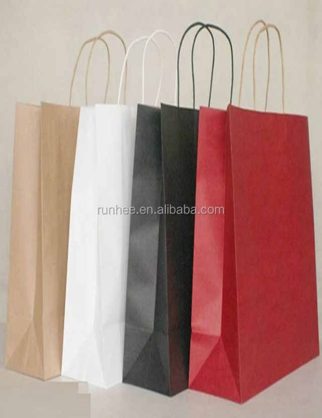 retail gold paper bag / customised paper bag with logo window