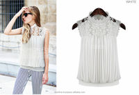 Women 2014 new European Style Lace Embroideries Collar Loose-Fit Pleated Chiffon White Blouse Sleeveless