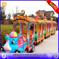 Playground game ride outdoor / indoor used trackless tourist mini train ride Thomas / Elephant / Marine battery trackless train