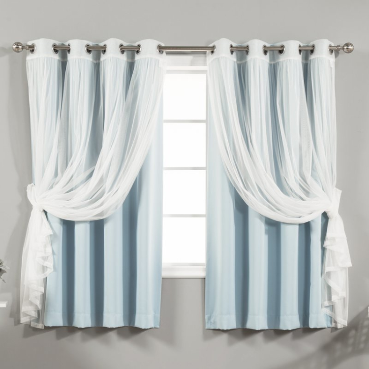 Grommet stripe curtain french style blackout curtains