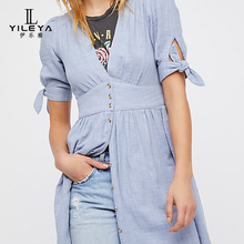 New fashion lady casual short sleeve 100% cotton shirt dress
