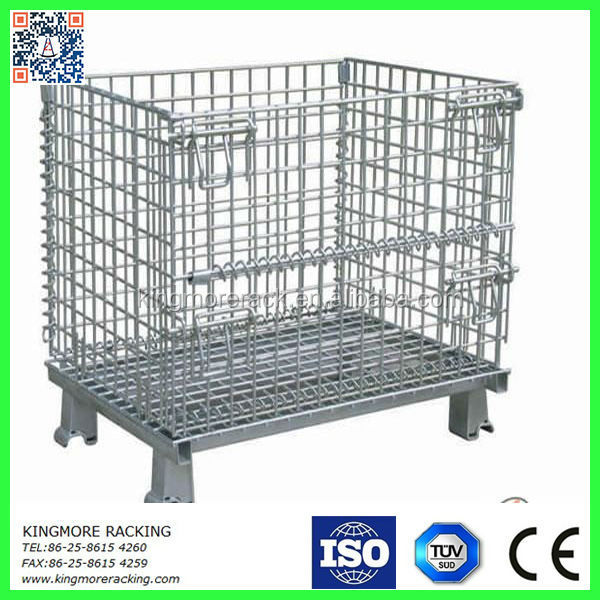 Warehouse storage folding wire mesh cage