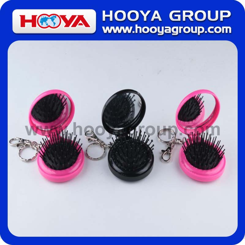 Comb With Circular Key Chain Folding Mirror