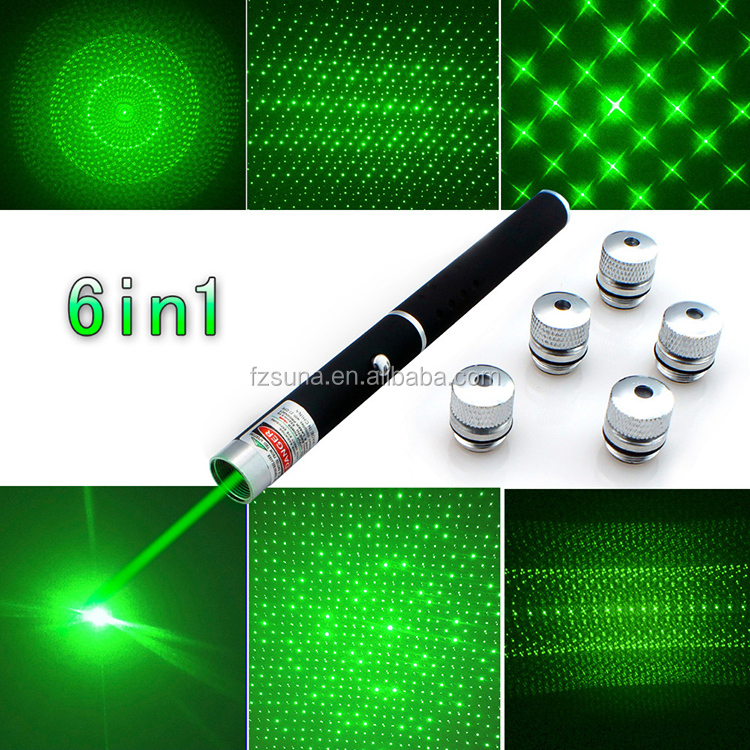 Wholesale Stock green laser pointer with 5 pattern heads 1mw