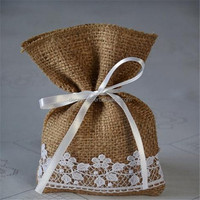 wholesale jute with lace present bags drawstring bag