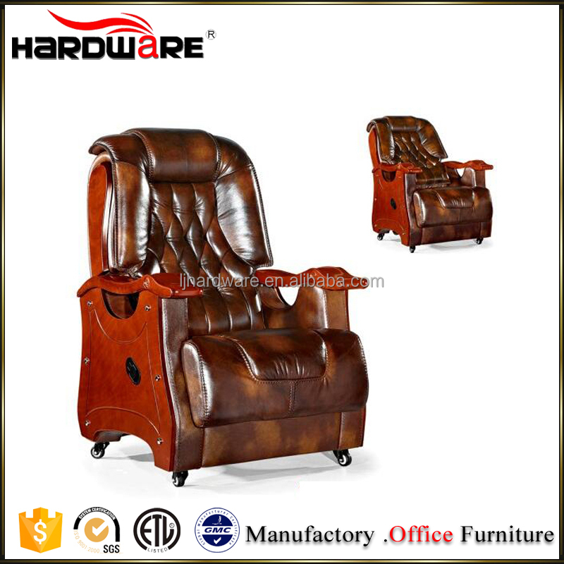 Regal design genuine leather executive boss recliner chair with wheels
