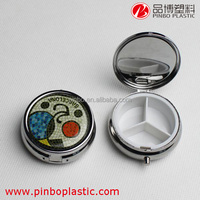 Wholesale Customized Round 3 Compartments Blank Metal Pill Box/Slide Pill Box