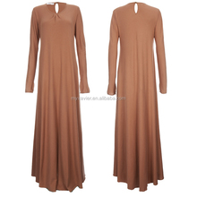 Simple Dubai tea pink colorful long Dress Simple style abaya Modest Muslim Clothing Wholesale Women Turkish muslim dress abaya