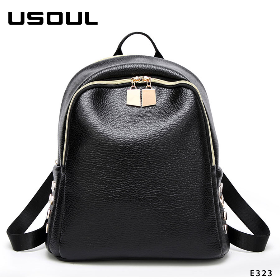 Large Capacity Women 2018 Pu Leather Rivets Backpack With Zipper
