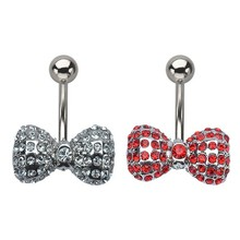 316L Stainless Steel Fixed Gem Bow Design Navel Jewelry Piercing Unique Belly Rings