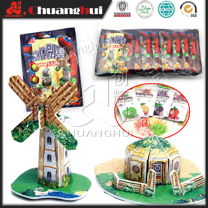 3D Puzzle House Candy Toy For Kid / House Puzzle with Candy Popping