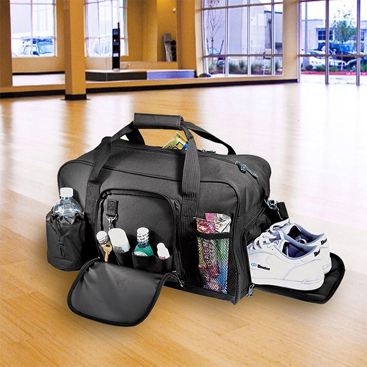 Custom foldable mens duffel bags carry on duffle with shoe compartment