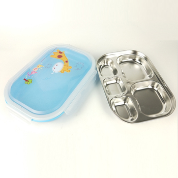 5 compartment stainless steel lunch box with bpa free pp plastic cover
