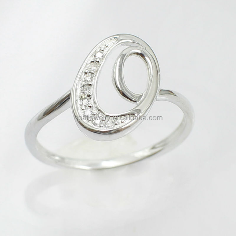 Unique Letter <strong>Q</strong> Shaped Micropaved CZ 925 Solid Silver Wholesale Silver Ring Design