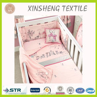 Pink Rabbit Embroidery bedding set/ Baby crib bedding set