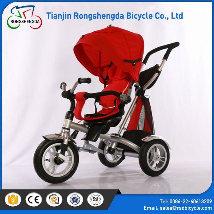Power wheel toy tricycle for kids / comfortable seate children metal frame tricycle / 4 in 1 baby trike with canopy