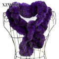 CX-S-83D Wholesale Handmade Knitted Purple Genuine Mink Fur Scarf