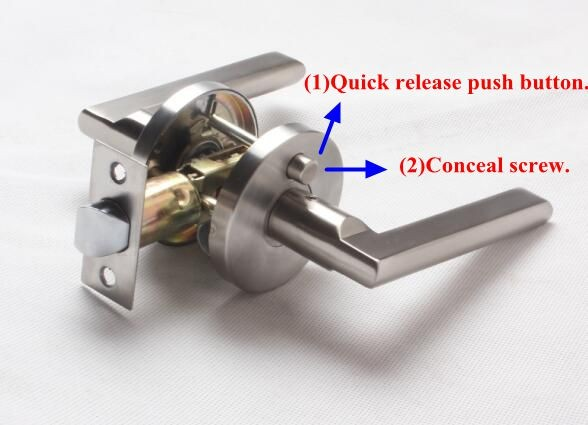 2017 USA ,Canada ,Australia New modern style privacy /Passage/dummy door lever lock with auto-release function