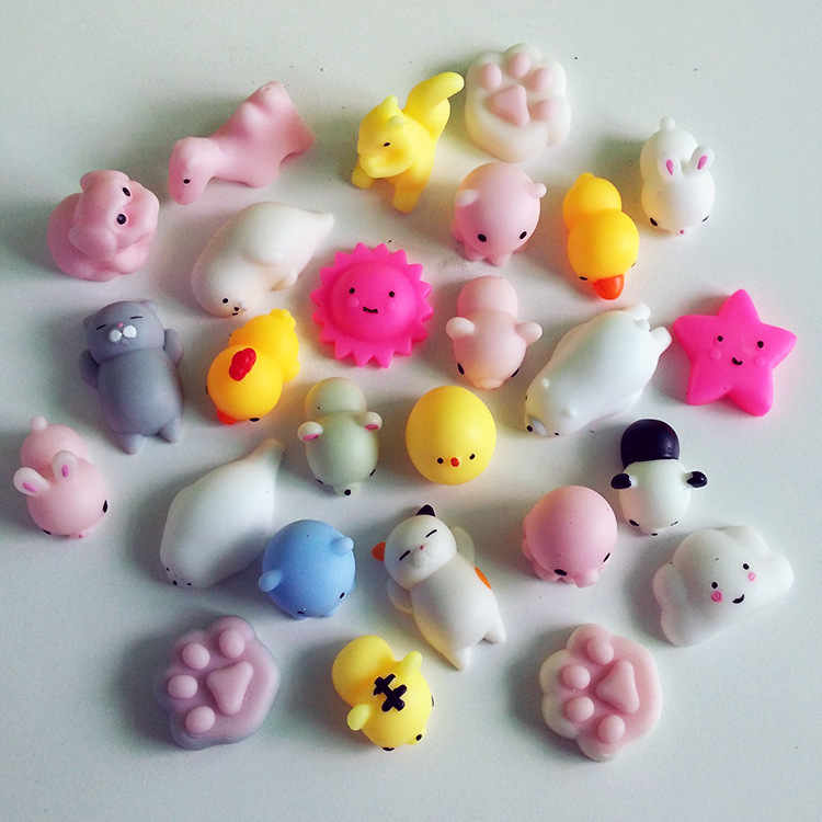 Mskwee 2019 Amazon Hot Sale Kawaii mini Animal Cat Slime Stress Relief Mochi Squishy TPR Squeeze <strong>Toys</strong> For Children Adults