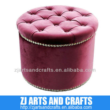 4406 ottoman ( birch wood/grape velvet fabric&button/sliver studs)