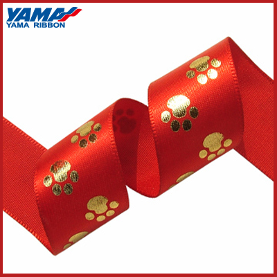 Promotional good color fastness custom printed gold ribbon