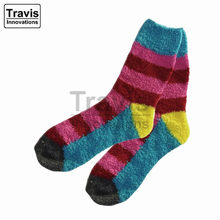 Cute Fuzzy Socks for Women and Girls with Stripes and Checks
